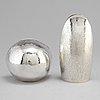 Rey urban, two sterling silver vases, stockholm 1969