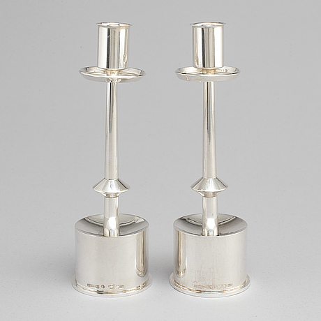 ClaËs e. giertta, a pair of sterling silver candlesticks, stockholm 1965