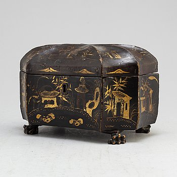 A Chinese tin case in a wooden box, early 20th century.