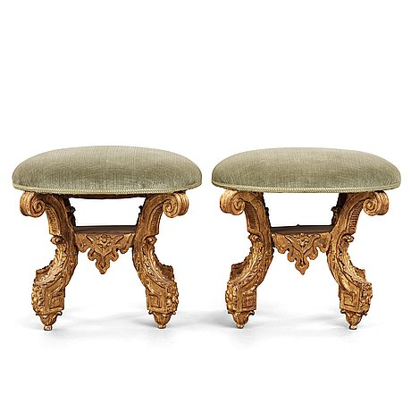 A pair of swedish baroque stools, attributed to  burchard precht, circa 1700.