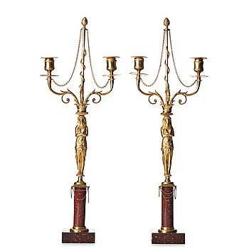 109. A pair of late Gustavian-style two-light candelabra, 19th century.