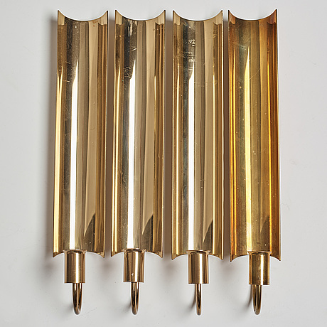 A set of four 'reflex' brass wall scones by pierre forsell, skultuna