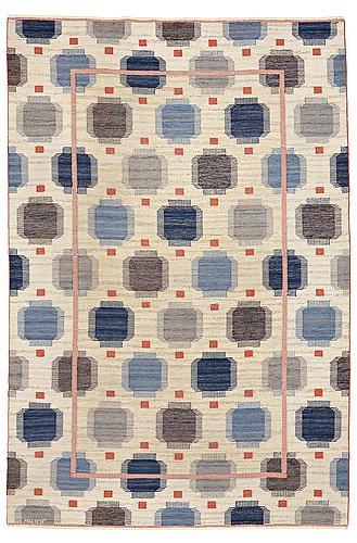"Märta måås-fjetterström, a carpet, ""blåplump"", flat weave, ca 301,5 x 202 cm, signed ab mmf."