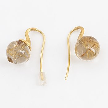 A pair of Ole Lynggard, Charlotte Lynggaard earrings, with rutile quartz.