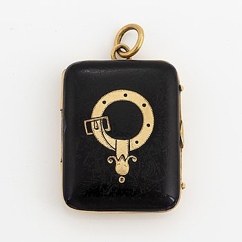 Gold and enamel charm and two photos.