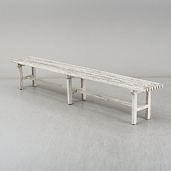 A painted pine garden bench, 20th Century.