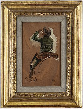 ERNEST MEISSONIER, oil on panel, signed with monogram.