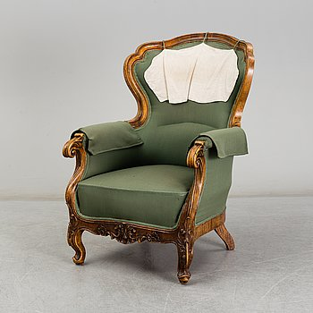 A second half of the 19th century walnut easy chair.