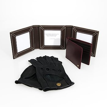 MULBERRY Pair of Gloves, Photo frame and a wallet.