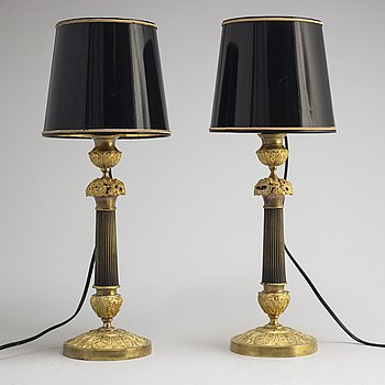 A pair of French table lamps, early 20th Century.