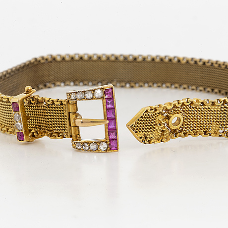 Rose cut diamond, ruby and gold bracelet