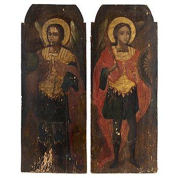 IKONER, 2 st, troligen Grekland, 1800-talets första kvartal. Tempera på pannå.