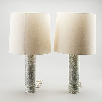 BERGBOM'S, a pair of marble table lamps, Sweden 1960'S.