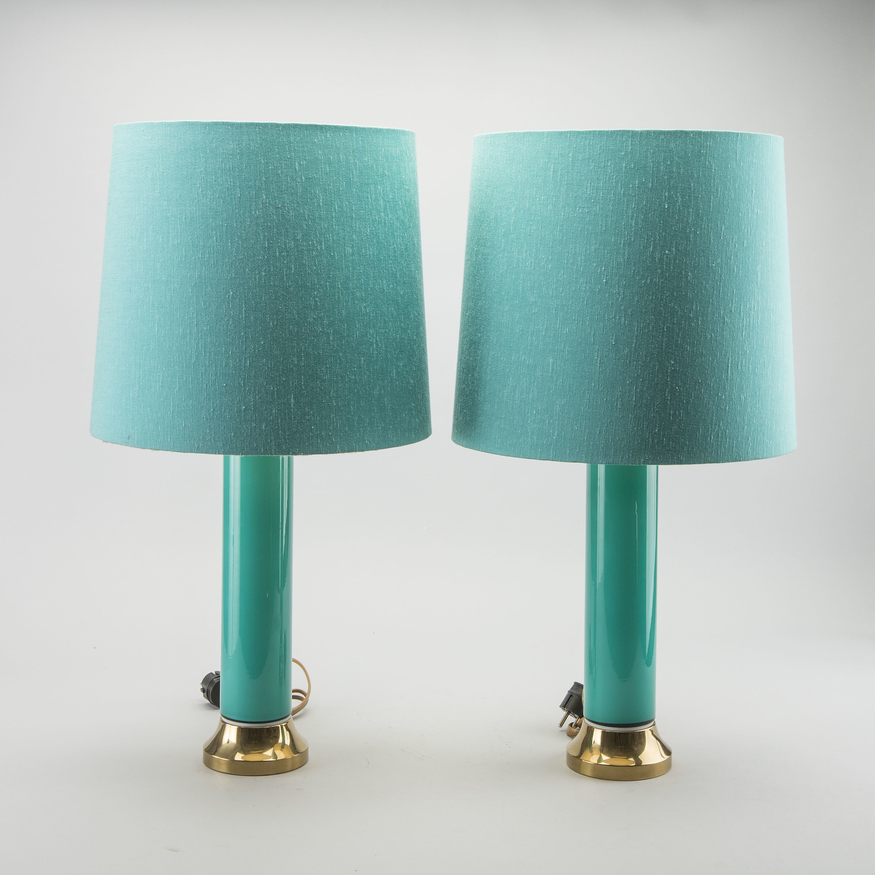 Bergbom S A Pair Of Brass And Turquoise Glass Table Lamps Sweden Mid 20th Century Bukowskis