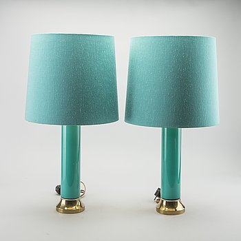 BERGBOM'S, a pair of brass and turquoise glass table lamps, Sweden mid 20th century,