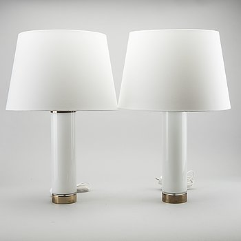 BERGBOMS, a pair of brass and white glass table lamps, model B 08, Sweden 1960'S.