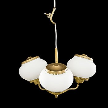 BEN KARLBY FOR LYFA, a brass and white glass ceiling lamp, second half of 20th century.