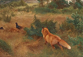 368. Bruno Liljefors, Fox and grouse pair.