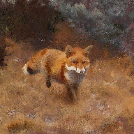 Bruno liljefors, fox in a fall landscape.