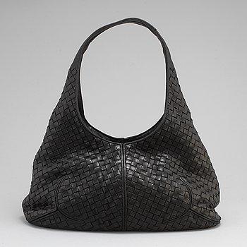 BOTTEGA VENETA, a black intrecciato leather hobo bag.