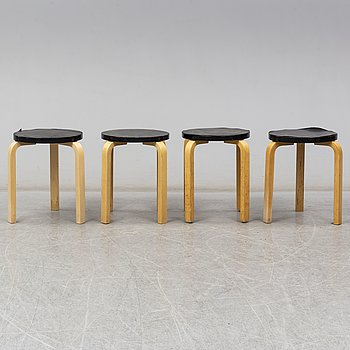 ALVAR AALTO, 4 '60' & 'E60' stools from the late 20th century.