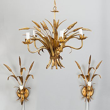 a ceiling lamp and a pair of wall-sconces, Italy, second half of the 20th century.