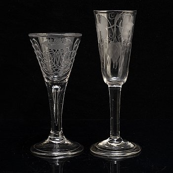 Two engraved glasses, 18th Century.