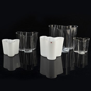 A set of five 'Savoy' glass vases by Alvar Aalto, Iittala, Finland.