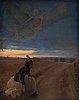 Lauritz andersen ring, landskap från ängen vid næstved. efter solnedgång
