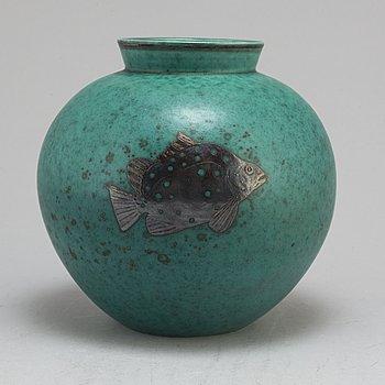 WILHELM KÅGE, vase, stoneware, 'Argenta', Gustavsberg, signed and dated 1942.