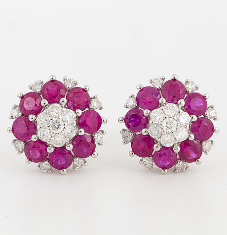 Ruby and brilliant-cut diamond earrings.