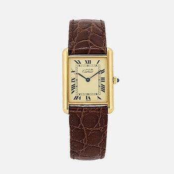 must de CARTIER, Tank, wristwatch, 23,5 x 23 (30,5) mm.