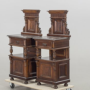 A PAIR OF NIGHT STANDS FIRST HALF OF 20TH CENTURY.