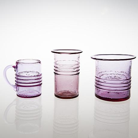 "Tamara aladin, a glass vase, a pot and beer mug, ""rengas' series, riihimäen lasi. design year 1965"