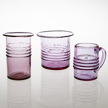 "TAMARA ALADIN, A glass vase, a pot and beer mug, ""Rengas' series, Riihimäen Lasi. Design year 1965."