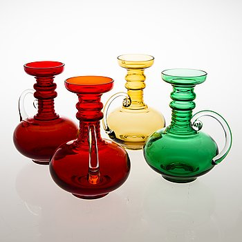 TAMARA ALADIN, A set of four 'Kleopatra' glass vases, 1502, Riihimäen Lasi, 1970-1976. Design year 1969.