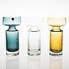Tamara aladin, a set of three 'safari' glass vases, model 1495, riihimäen lasi, 1968 1974. design year 1966