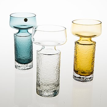 TAMARA ALADIN, A set of three 'Safari' glass vases, model 1495, Riihimäen Lasi, 1968-1974. Design year 1966.