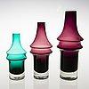 Tamara aladdin, three glass vases, model 1464, riihimäen lasi 1967. design year 1965