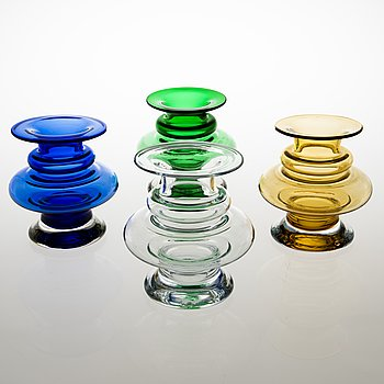 TAMARA ALADIN, A set of four 'Tornado' glass vases, 1339, Riihimäen Lasi, 1970-76. Design year 1970.