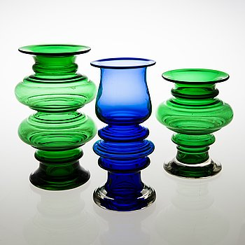 TAMARA ALADIN, Three 'Tornado' glass vases, two signed. Riihimäen Lasi 1970-73. Design year 1970.