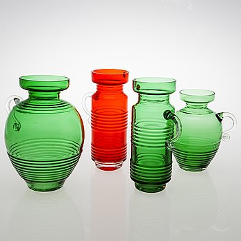 TAMARA ALADIN, A set of four 'Kleopatra' glass vases, Riihimäen Lasi, 1970-73. The series designed in 1969.