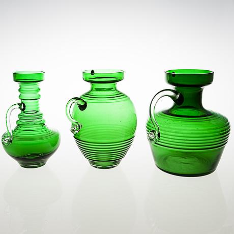 Tamara aladin, a set of three 'kleopatra' glass vases, riihimäen lasi, 1970 73. the series designed in 1969