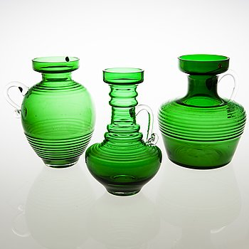 TAMARA ALADIN, A set of three 'Kleopatra' glass vases, Riihimäen Lasi, 1970-73. The series designed in 1969.