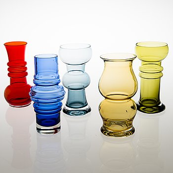TAMARA ALADIN, Five glass vases for Riihimäen Lasi, 1971-76.