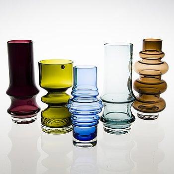 TAMARA ALADIN, Five glass vases, Riihimäen Lasi, 1967-76.