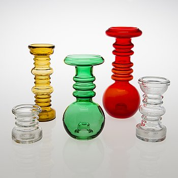 TAMARA ALADIN, A set of five 'Carmen' glass candlesticks/ vases, models 1963 and 1964, Riihimäen Lasi, 1970-1981.