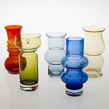 TAMARA ALADIN, Five glass vases, Riihimäen Lasi 1960s-70s.