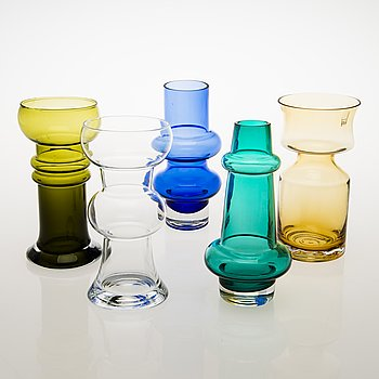 TAMARA ALADIN, A set of five different glass vases, Riihimäen Lasi 1966-76.