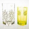 Tamara aladin, two glass vases, 'musica' 1362 and 'rondella' 1497, riihimäen lasi. designed in 1973 and in 1967